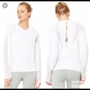 Alo white sweatshirt with mesh detailing